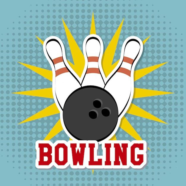 Disegno di bowling sopra illustrazione vettoriale sfondo punteggiato Vettore Premium