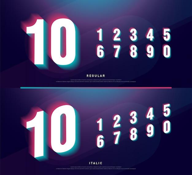 Disegno di carattere alfabeto numeri glitched. titolo numero Vettore Premium