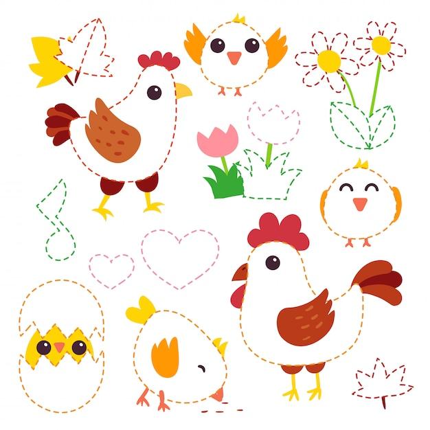 Disegno di carattere vettoriale di pollo Vettore Premium