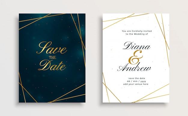 Disegno di carta creativo dorato linea dorata invito a nozze Vettore gratuito