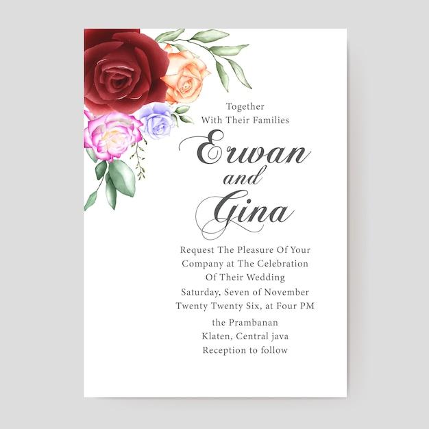 Disegno di carta floreale modello di invito a nozze Vettore Premium