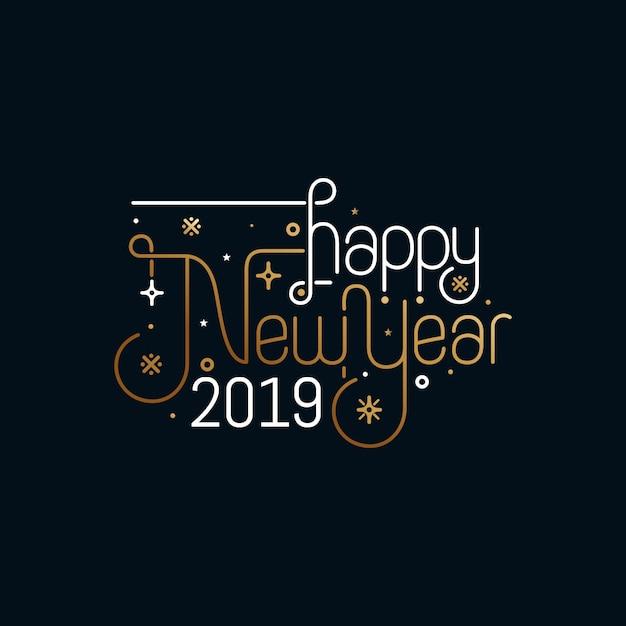 Disegno di cartolina d'auguri di felice anno nuovo Vettore Premium