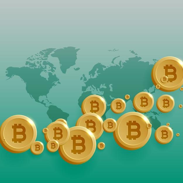 Disegno di concetto di valuta di bitcoins con la mappa del mondo Vettore gratuito