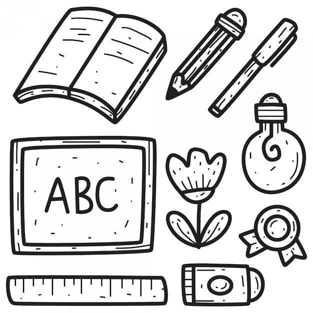 Disegno di doodle a scuola Vettore Premium