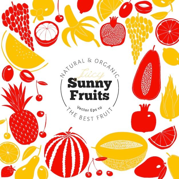 Disegno di frutta disegnata a mano scandinavo. illustrazioni vettoriali stile linoleografia. cibo salutare. Vettore Premium