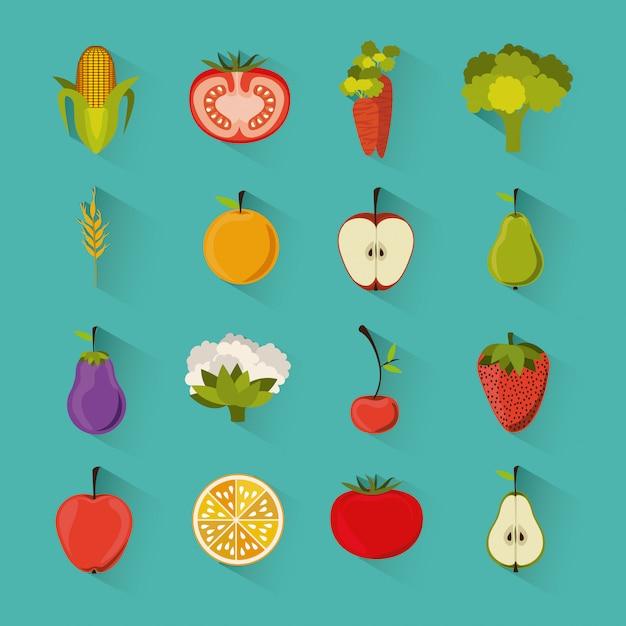 Disegno di generi alimentari Vettore Premium