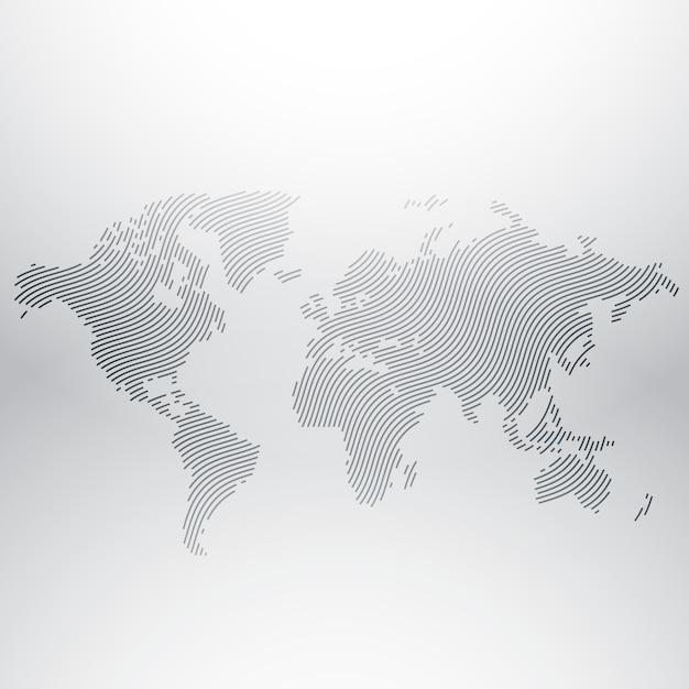 Disegno di mappa del mondo in disegno creativo ondulato Vettore Premium