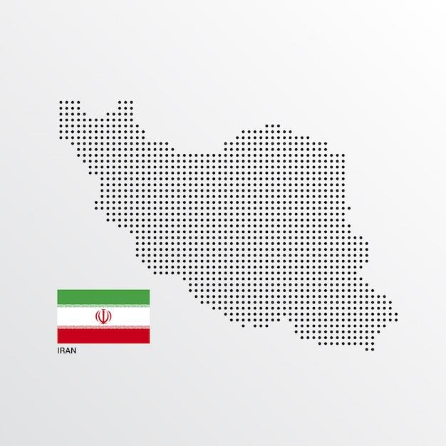 Disegno di mappa iran con bandiera e luce sfondo vettoriale Vettore gratuito