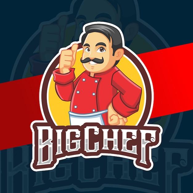Disegno di marchio di grande chef mascotte personaggio Vettore Premium