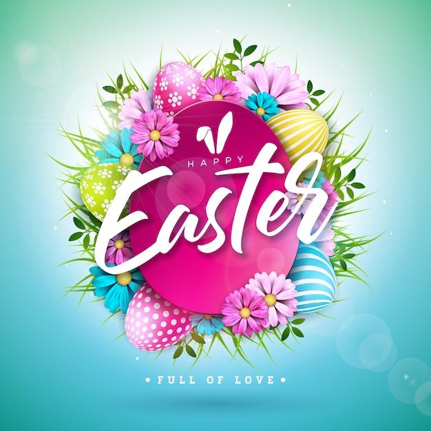 Disegno di pasqua felice con uovo dipinto e fiore di primavera Vettore Premium
