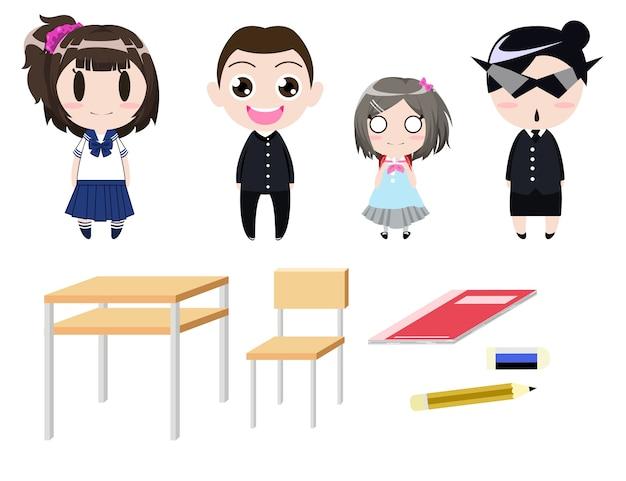 Disegno Di Personaggio Dei Cartoni Animati Uniforme Degli Studenti