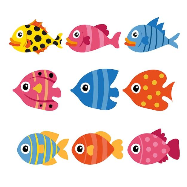 Disegno di raccolta del vettore di pesce Vettore Premium