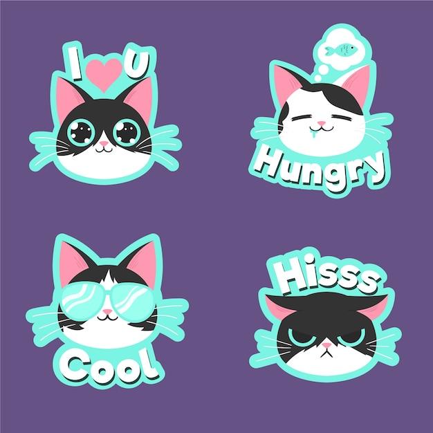 Disegno di raccolta di adesivi gatto divertente Vettore gratuito
