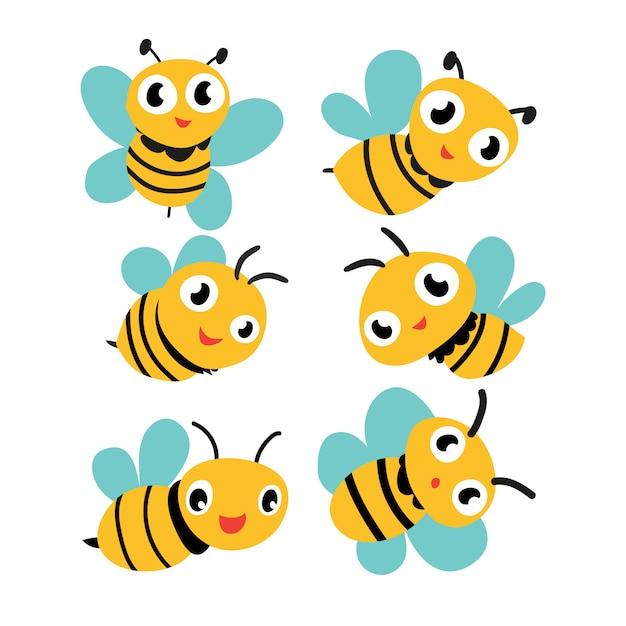 Disegno di raccolta vettoriale delle api Vettore Premium