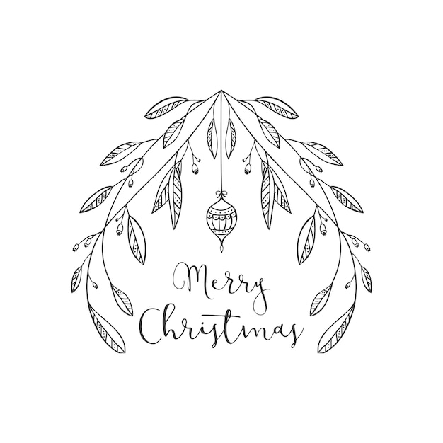 Disegni Di Palline Di Natale.Disegno Di Saluto Di Natale Con I Rami E Una Pallina Di Natale