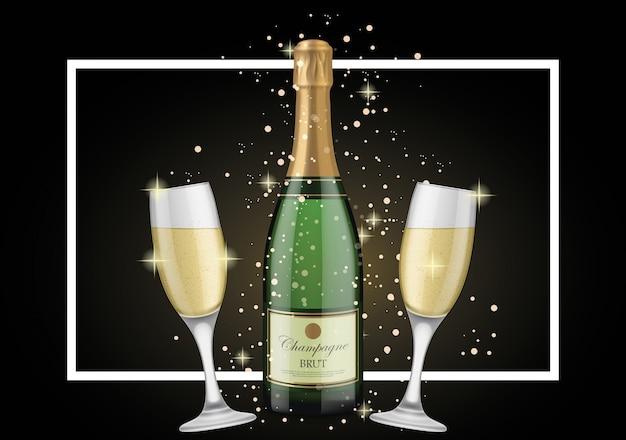 Disegno di sfondo di champagne Vettore gratuito