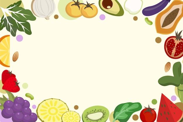 Disegno di sfondo di frutta e verdura Vettore gratuito