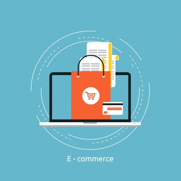 Disegno di sfondo e-commerce Vettore gratuito