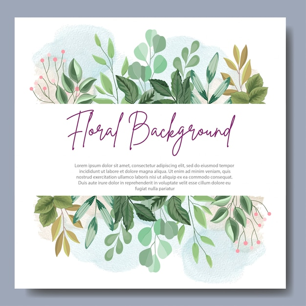 Disegno di sfondo floreale con belle foglie Vettore Premium