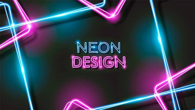 Disegno di sfondo nero al neon incandescente astratto Vettore Premium