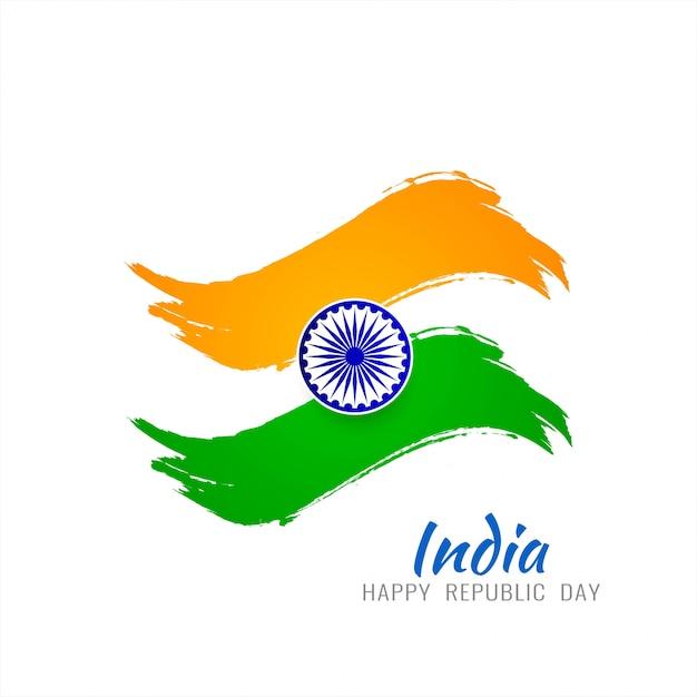 Disegno di sfondo tricolore tema bandiera indiana Vettore Premium