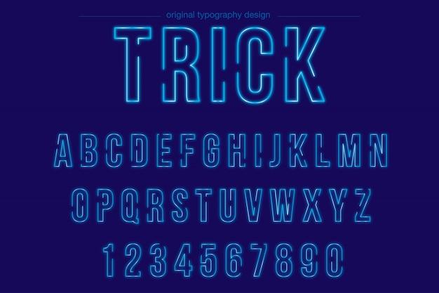 Disegno di tipografia al neon blu brillante Vettore Premium