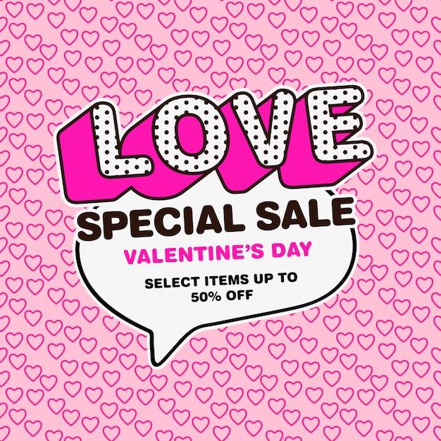 Disegno di vendita di san valentino stile pop art Vettore Premium