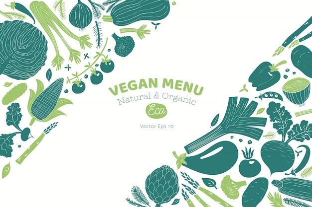 Disegno di verdure disegnato a mano del fumetto. grafica monocromatica stile linoleografia. cibo salutare. illustrazione vettoriale Vettore Premium