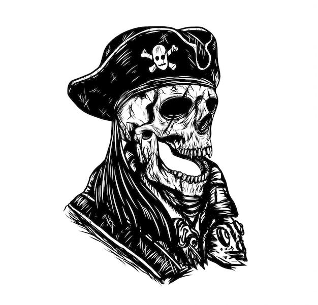Disegno di vettore del cranio del pirata a mano. Vettore Premium