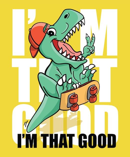 Disegno di vettore di dinosauro fresco disegnato a mano per la stampa di t-shirt Vettore Premium