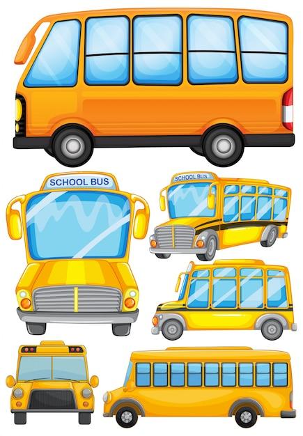 Disegno differente di illustrazione del bus di scuola Vettore gratuito