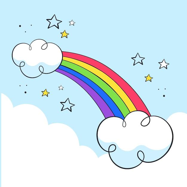 Disegno disegnato a mano arcobaleno Vettore gratuito