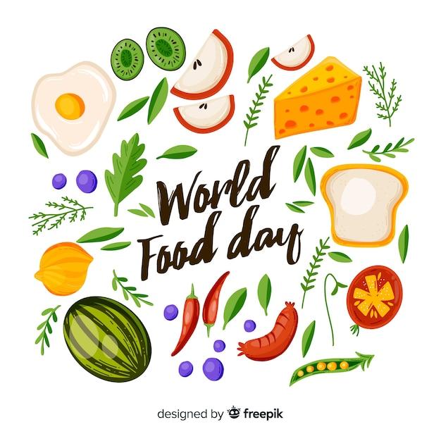 Disegno disegnato a mano con evento giornata mondiale dell'alimentazione Vettore gratuito