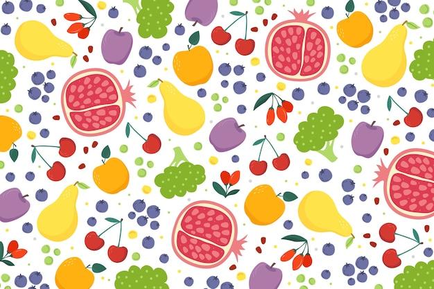 Disegno disegnato a mano di frutta e verdura Vettore gratuito