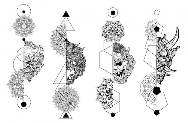 Disegno e schizzo della mano dell'insieme del gigante di arte del tatuaggio in bianco e nero Vettore Premium