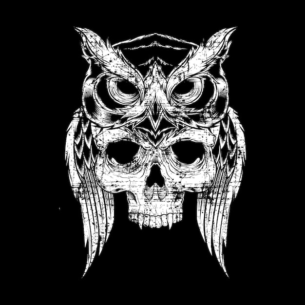 Disegno elaborato di stile del grunge del cranio della holding del gufo Vettore Premium