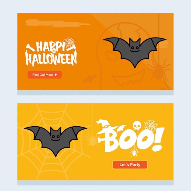 Disegno felice dell'invito di halloween con il vettore dei pipistrelli Vettore gratuito