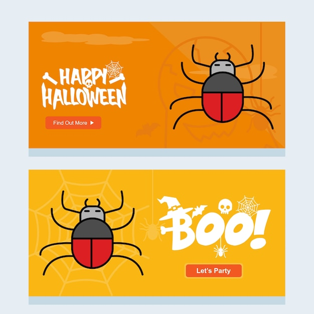 Disegno felice dell'invito di halloween con il vettore del ragno Vettore gratuito