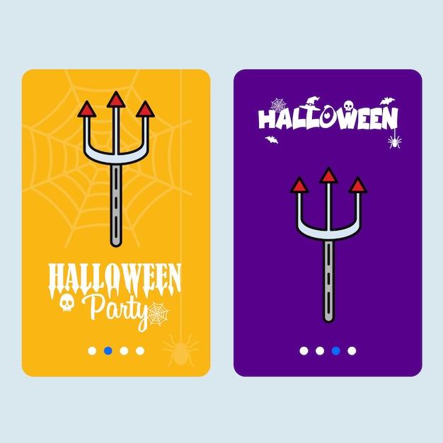 Disegno felice dell'invito di halloween con il vettore del tridente Vettore gratuito