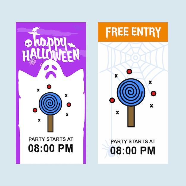 Disegno felice dell'invito di halloween con il vettore della caramella Vettore gratuito