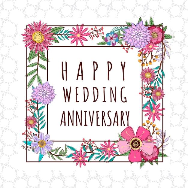 Anniversario Di Matrimonio Disegni.Disegno Floreale Anniversario Di Matrimonio Vettore Premium
