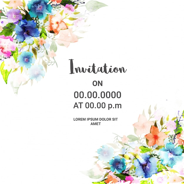 Disegno floreale della scheda di invito. Vettore Premium