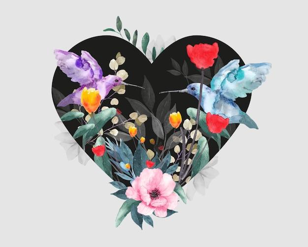 Disegno floreale per san valentino. cuore con uccelli, fiori e foglie. Vettore Premium