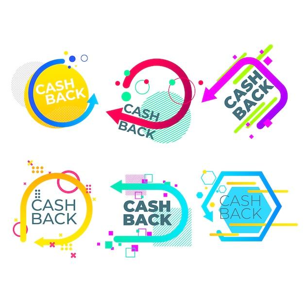 Disegno geometrico etichette cashback Vettore gratuito