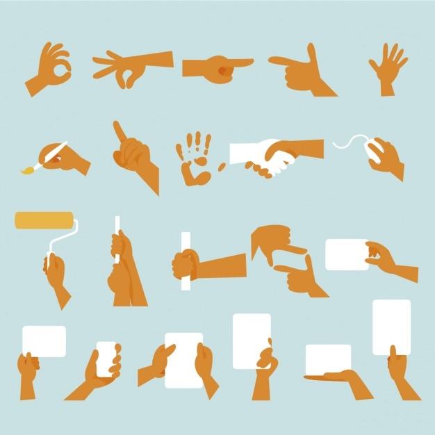 Disegno gesti delle mani Vettore gratuito