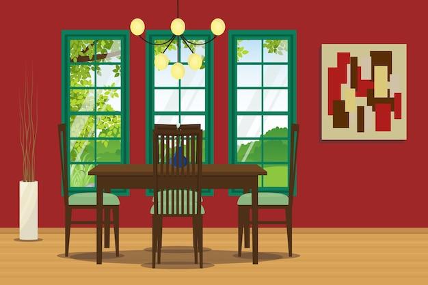 Mobili Della Sala Da Pranzo : Disegno interno della sala da pranzo con mobili eleganti