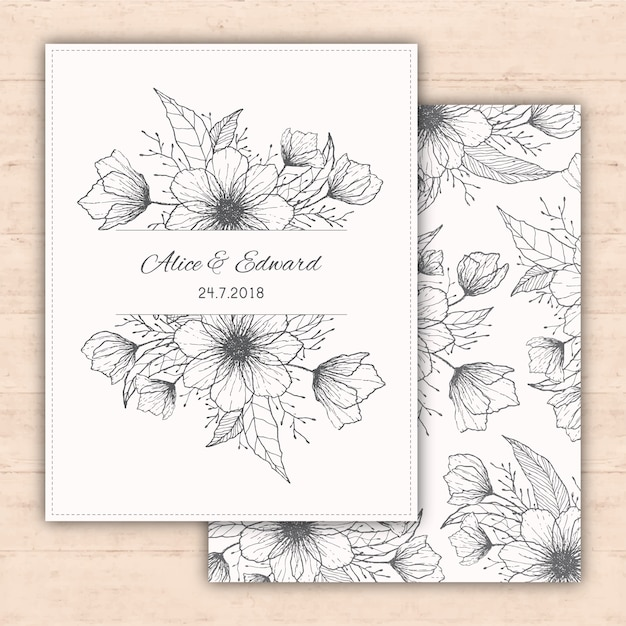 disegno invito a nozze con fiori disegnati a mano Vettore gratuito
