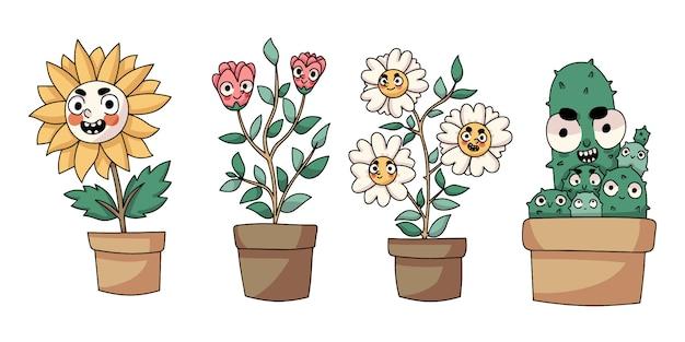 Disegno isolato fumetto sveglio delle piante Vettore Premium