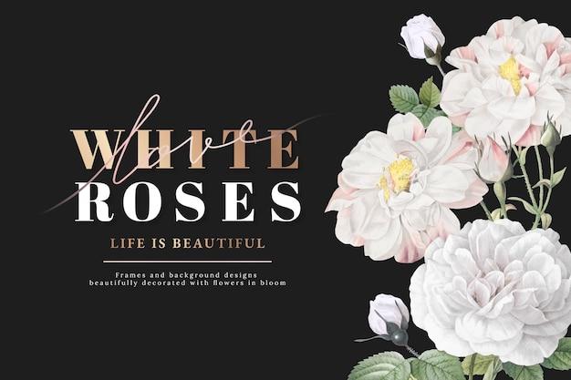 Disegno ispiratore di rose bianche Vettore gratuito