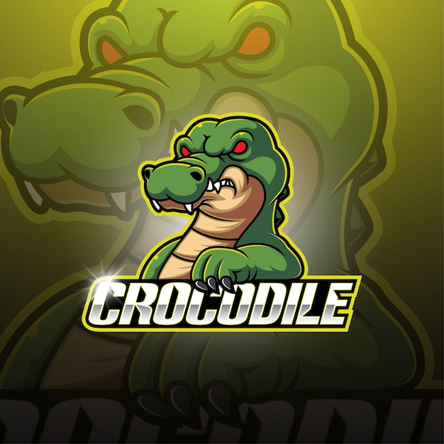 Disegno logo coccodrillo esport mascotte Vettore Premium